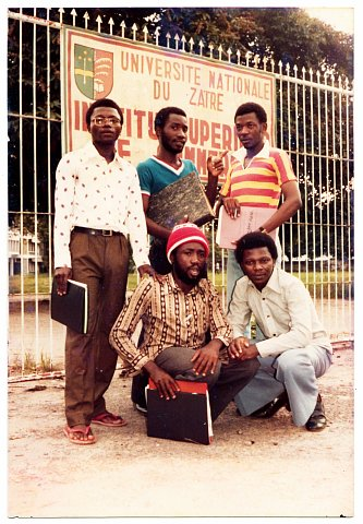 Quentin Kantambera, Sanyambo Buka and colleagues. From a Katembera family photo album. Photographer unknown. Kinshasa, D.R.C., c. 1980.