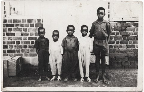 Photograph by Lema senior. Lema Mpveve Mervil is second from right. Kinshasa, D.R.C., c. 1950.