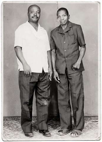 Cousin and uncle of Lema. Photograph by Lema Mpveve Mervil of Studio Photo Less. Kinshasa, D.R.C., c. 1980.