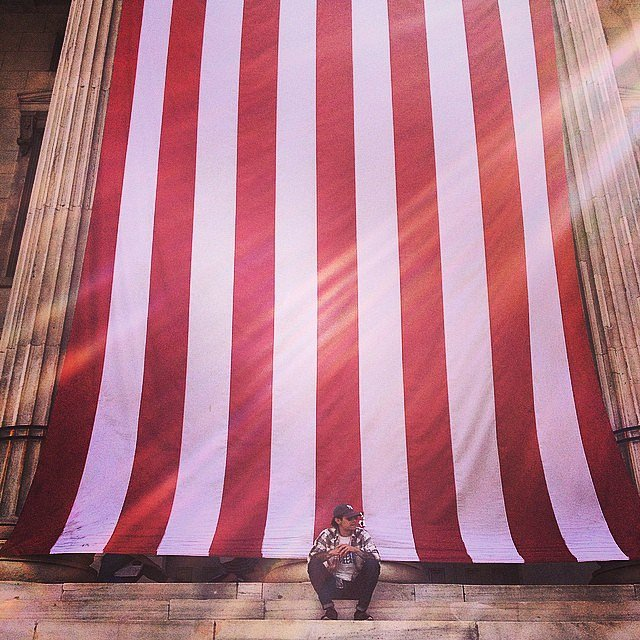 Waiting. #brooklyn #usa #afterwork #thatsabigflag #redwhiteandblue #patriotism