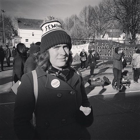 """Liza Gorman-Baer, 19, lives in Dinky Town and attends the U of M. """"You should be out out here talking to black people because they're here fighting for their lives. I'm just here in solidarity,"""" says Gorman-Baer. #blacklivesmatter #releasethetapes #minneapolis #minnesota #protest #jamarclark"""