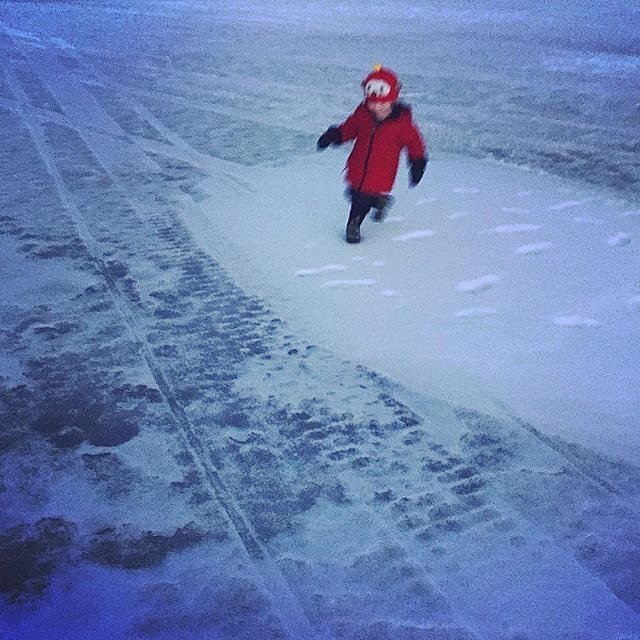 Evening adventure on the lake with Errol. #family #lakeminnetonka #minnesota #midwest #frozenlake #winter #redjacket