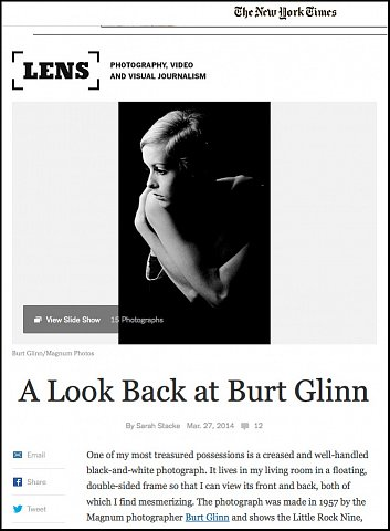 """A Look Back at Burt Glinn""  <br>Writing published March 27, 2014. <br>  <a href=""http://lens.blogs.nytimes.com/2014/03/27/a-look-back-at-burt-glinn/?_php=true&_type=blogs&_r=0"">View Article</a>"