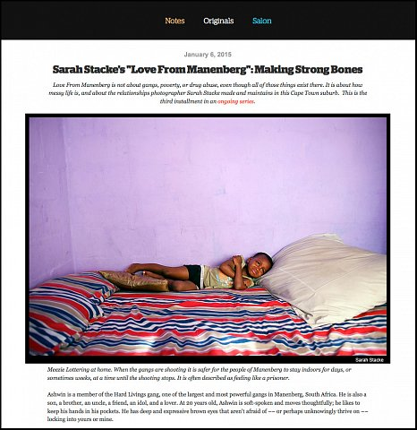 """Making Strong Bones"" <br> Photographs and writing published January 6, 2015. <br>  <a href=""http://www.readingthepictures.org/2015/01/sarah-stacke-manenberg-ashwin/"">View Article</a>"