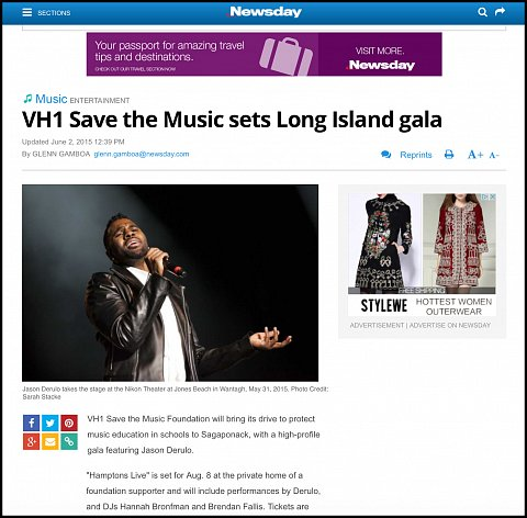 """VH1 Save the Music sets Long Island Gala"" <br> Photographs published June 2, 2015. <br>  <a href=""http://sarahstacke.photoshelter.com/gallery/Newsday-KTUhporia-at-Jones-Beach/G00003jo.wBcbwUo"">View Archive</a>"