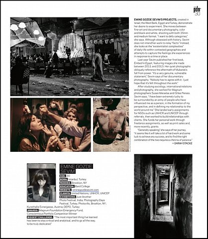 """PDN's 30 2016: New and Emerging Photographers to Watch"" <br> Writing published April 2016. <br>  <a href=""http://www.pdns30.com/gallery/2016/index.php?Photographer=Emine_Gozde_Sevim&Image=2020700370#27-Emine_Gozde_Sevim"">View Article</a>"