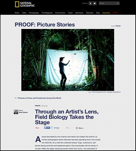 """Through an Artist's Lens, Field Biology Takes the Stage"" <br>Writing published March 21, 2016.<br>  <a href=""http://proof.nationalgeographic.com/2016/03/21/through-an-artists-lens-field-biology-takes-the-stage/"">View Article</a>"