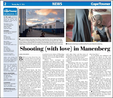 """Shooting (with love) in Manenberg"" <br>Photographs published May 12, 2016. <br>  <a href=""http://www.capetowner.co.za/news/shooting-with-love-in-manenberg-5169495"">View Article</a>"