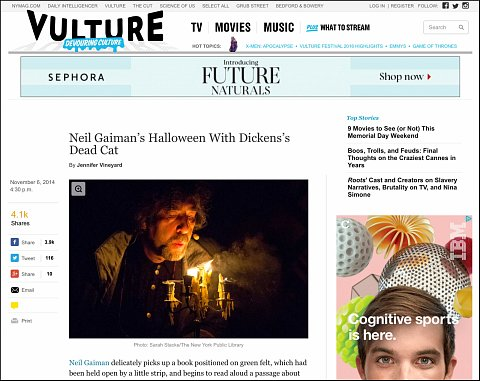 """Neil Gaiman's Halloween with Dickens's Deat Cat"" <br> Photographs published November 6, 2014.<br>  <a href=""http://www.vulture.com/2014/11/neil-gaimans-halloween-with-dickenss-dead-cat.html#"">View Article</a>"