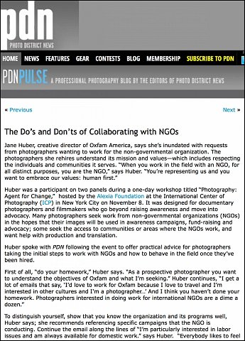 """The Do's and Don'ts of Collaborating with NGOs""  <br>Writing published November 16, 2015. <br>  <a href=""http://pdnpulse.pdnonline.com/2015/11/the-dos-and-donts-of-collaborating-with-ngos.html"">View Article</a>"