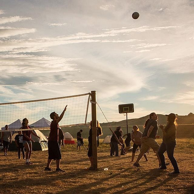 Evening ball games in the Oceti Sakowin camp, located on the edges of the Standing Rock Sioux Reservation in N.D. Sept. 10, 2016. #ocetisakowin #cannonball #standingrocksioux #NoDAPL #usa