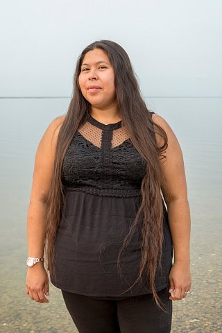 Veronica Bratvold, 31, stands at the edge of Red Lake on the Red Lake Indian Reservation in northern Minnesota. <br>September 13, 2017.