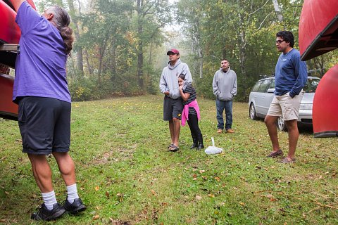 From left to right, Earl Fish from Onondaga Nation, Seth Ferguson from Tuscarora Nation, Olivia Elm from Onondaga Nation, Alan Lajeunesse Jr. from Red Lake Nation and Brennen Ferguson from Tuscarora Nation prepare to cultivate wild rice. <br>September 14, 2017.