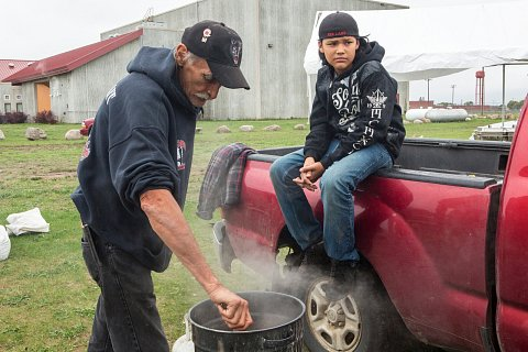 Jack Desjarlait prepares hominy at the Red Lake Food Summit on the Red Lake Indian Reservation in northern Minnesota. <br>September 16, 2017.