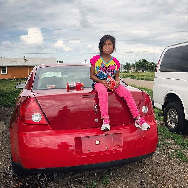 Germaine Grassrope, 5, at home in Lower Brule, South Dakota. #forcedgeographies #lowerbrule #southdakota #toughgirl #lakota #documentary