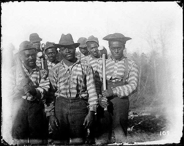This has always been one of my favorite Hugh Mangum images. Made c. 1900, likely in North Carolina, Hugh didn't create a mug shot of the men before him. Countless times I've imagined Hugh jumping off the train to make this picture. What did he say to make