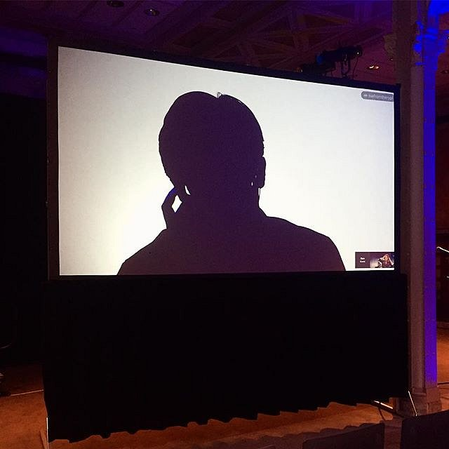Sound check with Edward Snowden. Tonight's shoot @nypl is going to be a trip. #newyork #nypl #onassignment #edsnowden